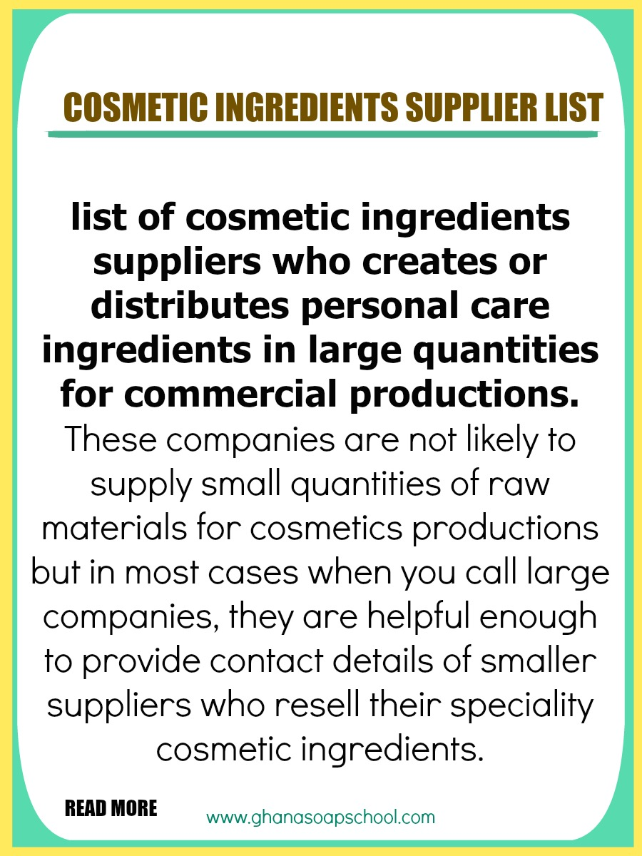 Cosmetic ingredients suppliers list for Cosmetics ingredients list